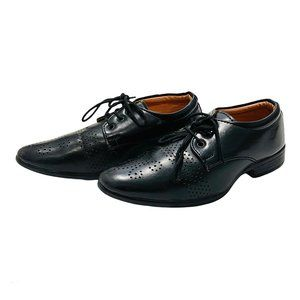 Black Leather Oxford Lace Up Dress Shoes
